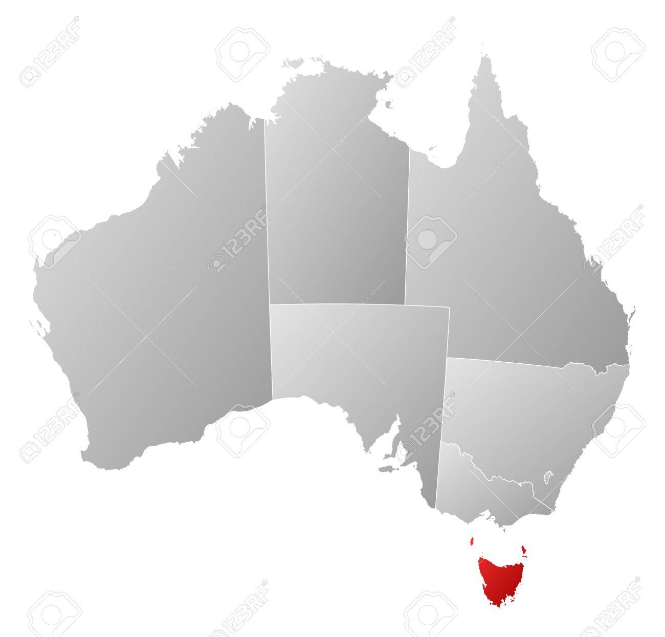 Where Is Australia Located On A Map.Political Map Of Australia With The Several States Where Tasmania