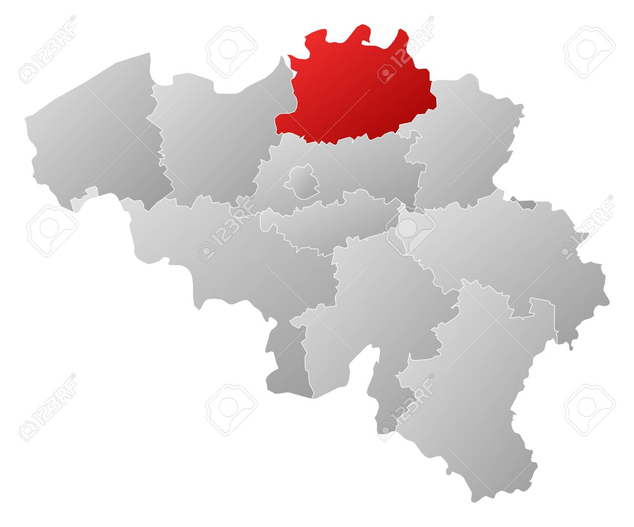 Political map of belgium with the several states where antwerp political map of belgium with the several states where antwerp is highlighted stock vector gumiabroncs Images