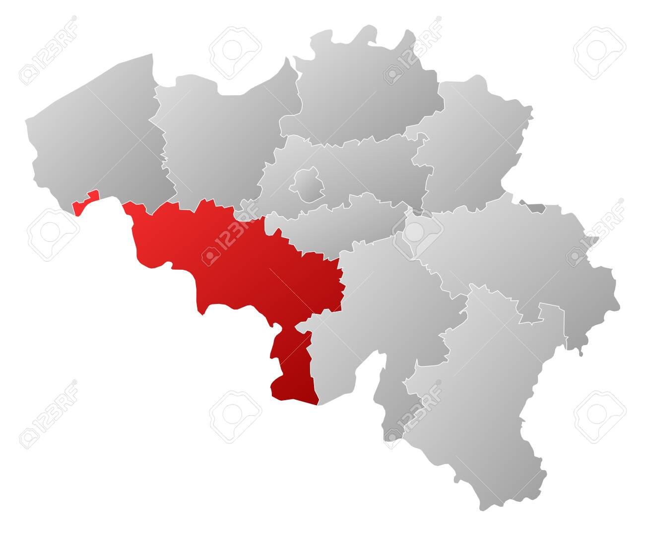 political map of belgium with the several states where hainaut is highlighted stock vector