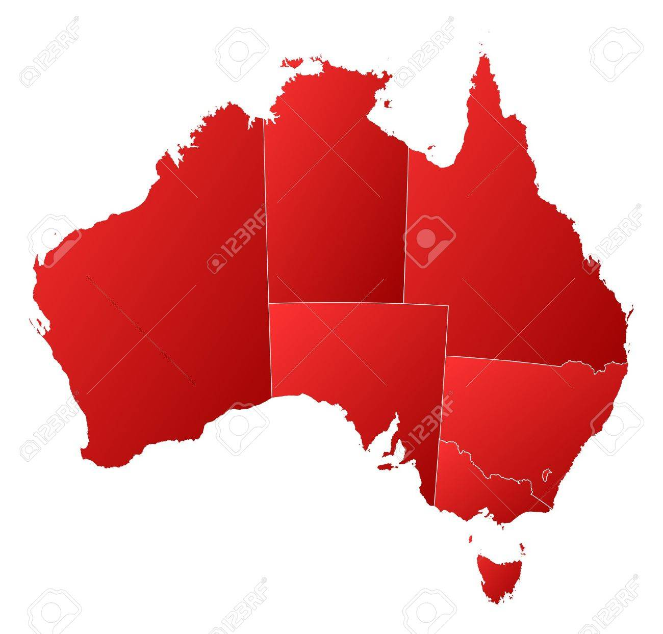 Political map of Australia with the several states. Stock Vector - 11505378