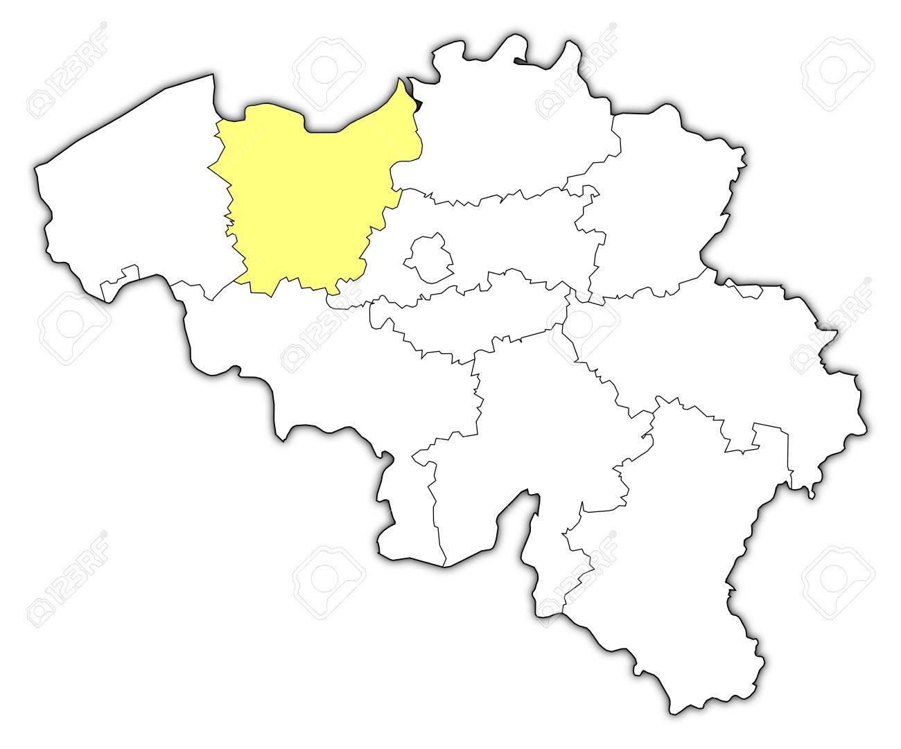 Mapa Politico De Belgica Con Los Varios Estados En Donde Se
