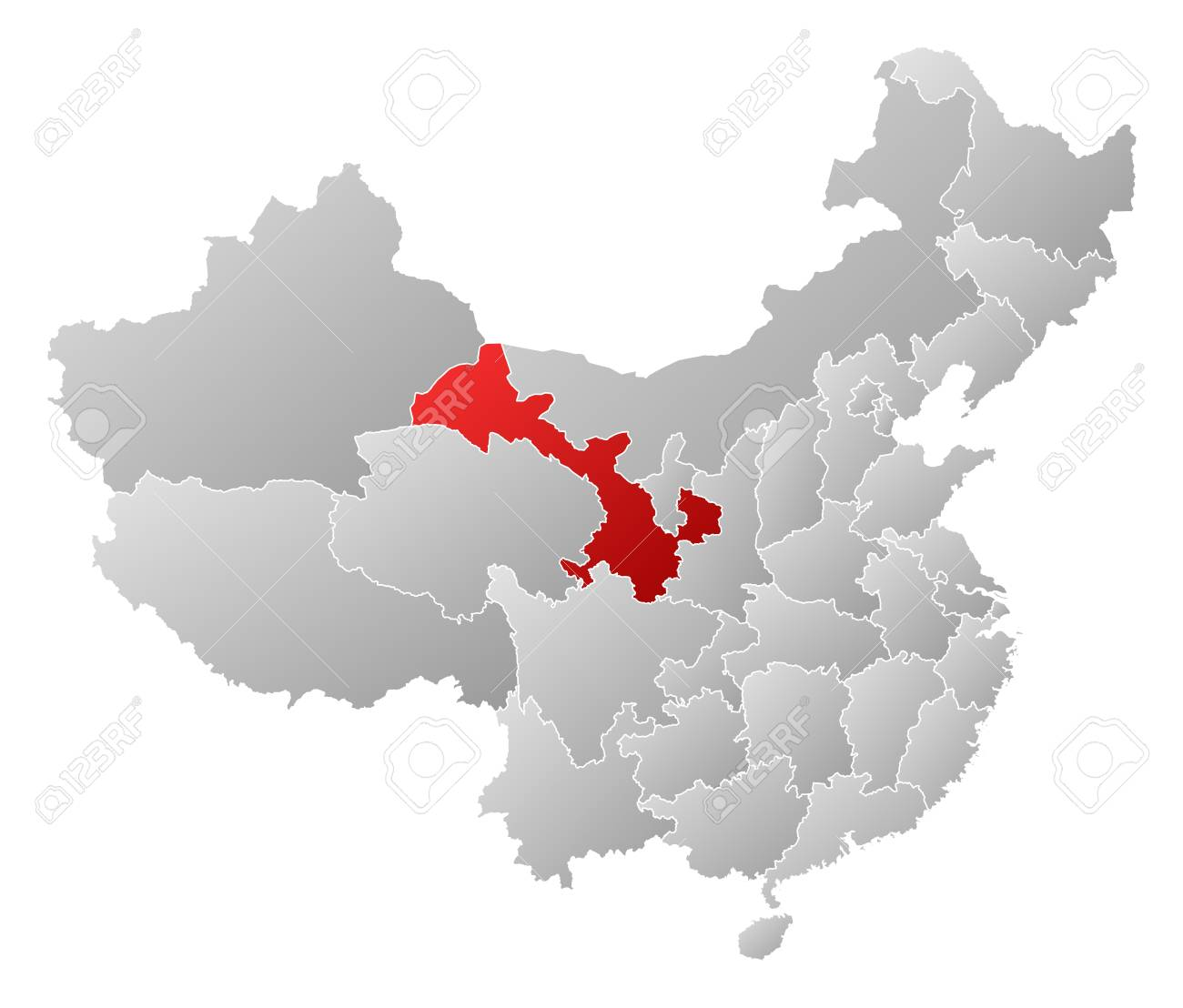 Gansu China Map.Political Map Of China With The Several Provinces Where Gansu
