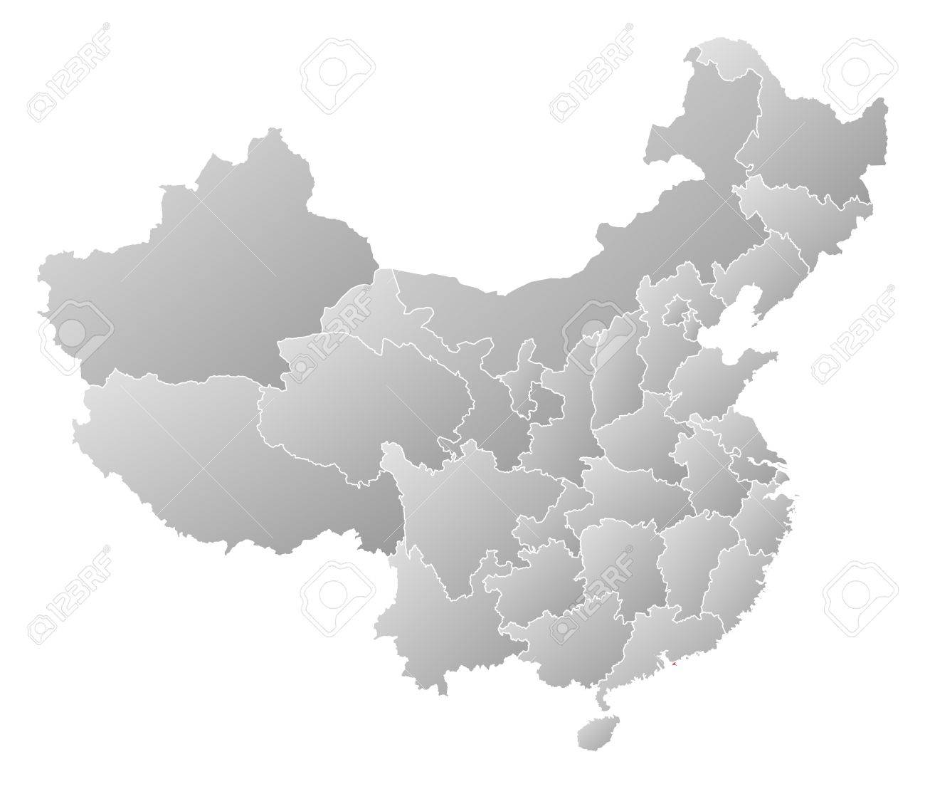 Political Map Of China With The Several Provinces Where Hong