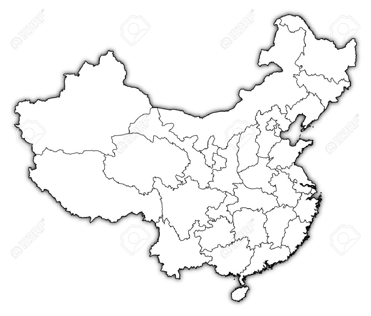 Political Map Of China With The Several Provinces Where Hong ...