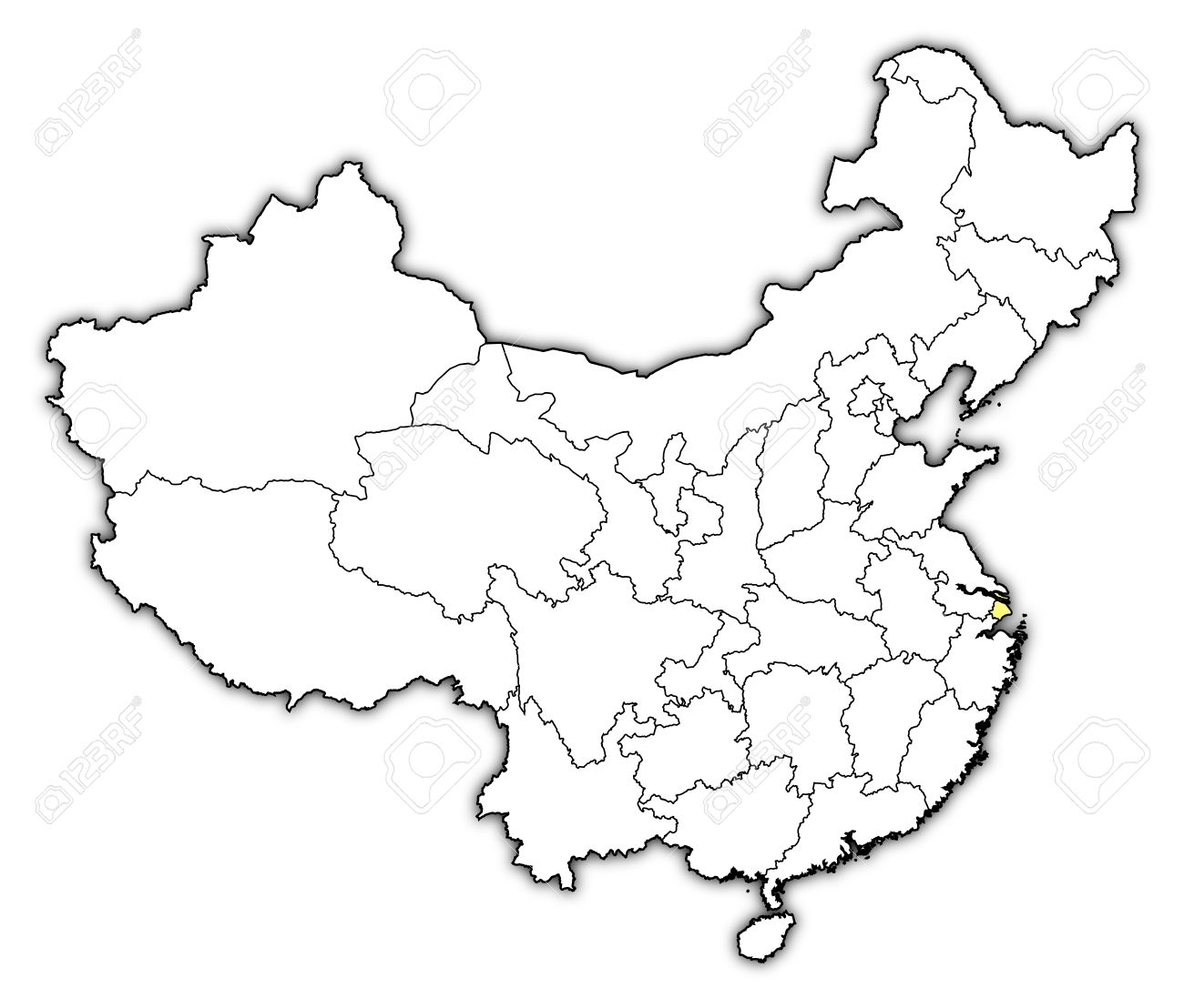 Political Map Of China With The Several Provinces Where Shanghai Is  Highlighted. Stock Vector