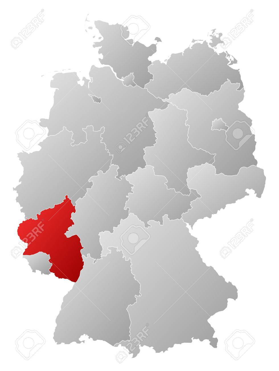 Map Of Germany Rhineland.Political Map Of Germany With The Several States Where Rhineland Palatinate