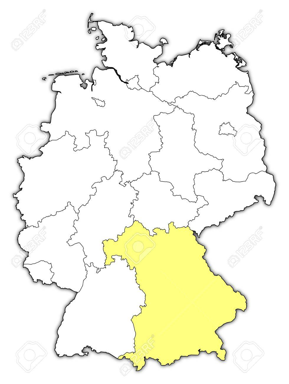 Political Map Of Germany With The Several States Where Bavaria - Germany map bavaria