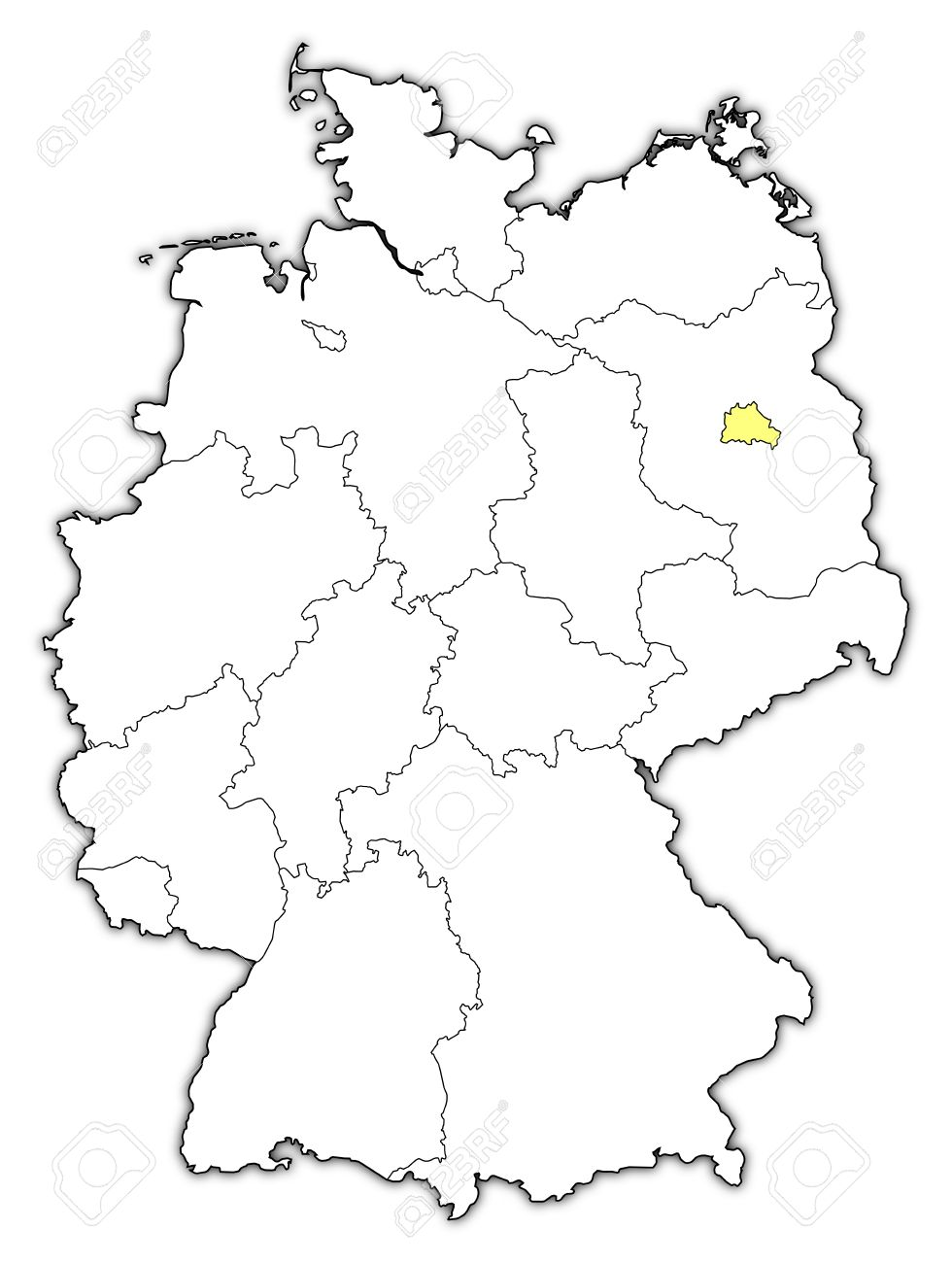 Political Map Of Germany With The Several States Where Berlin