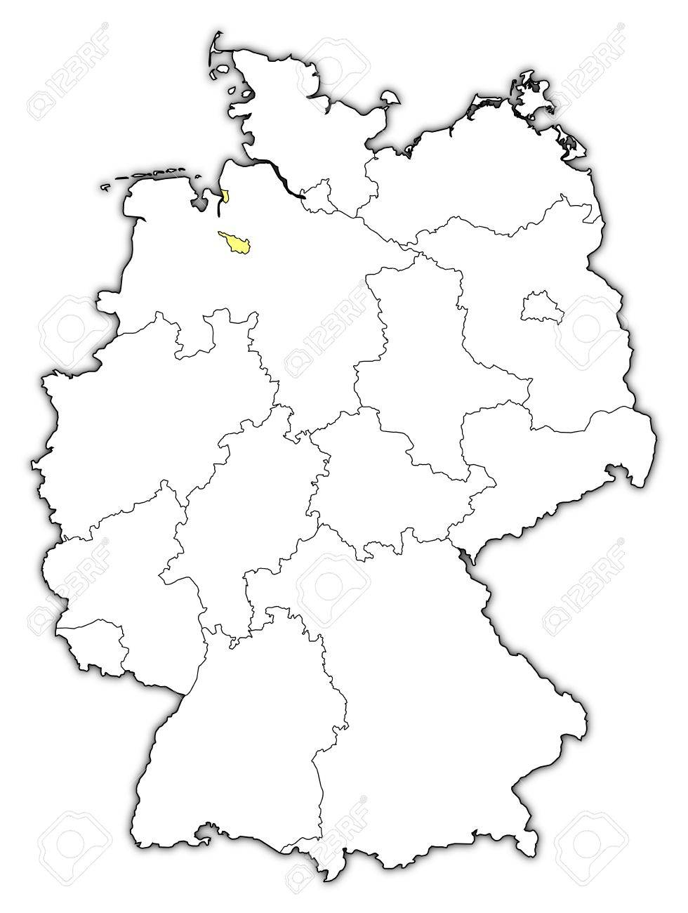 Political Map Of Germany With The Several States Where Bremen - Germany map outline