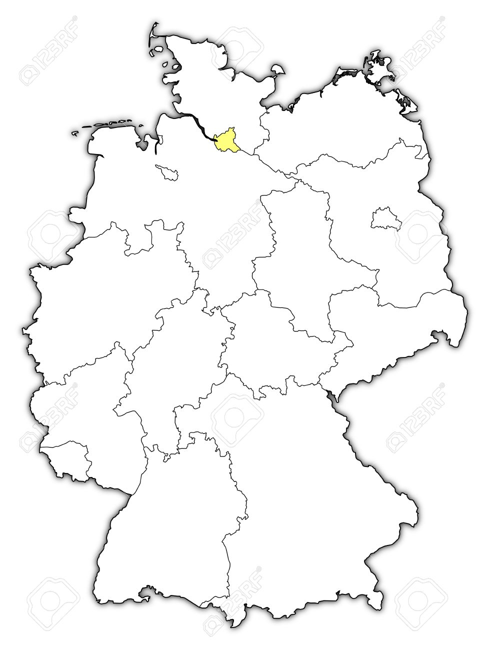 political map of germany with the several states where hamburg is highlighted stock vector