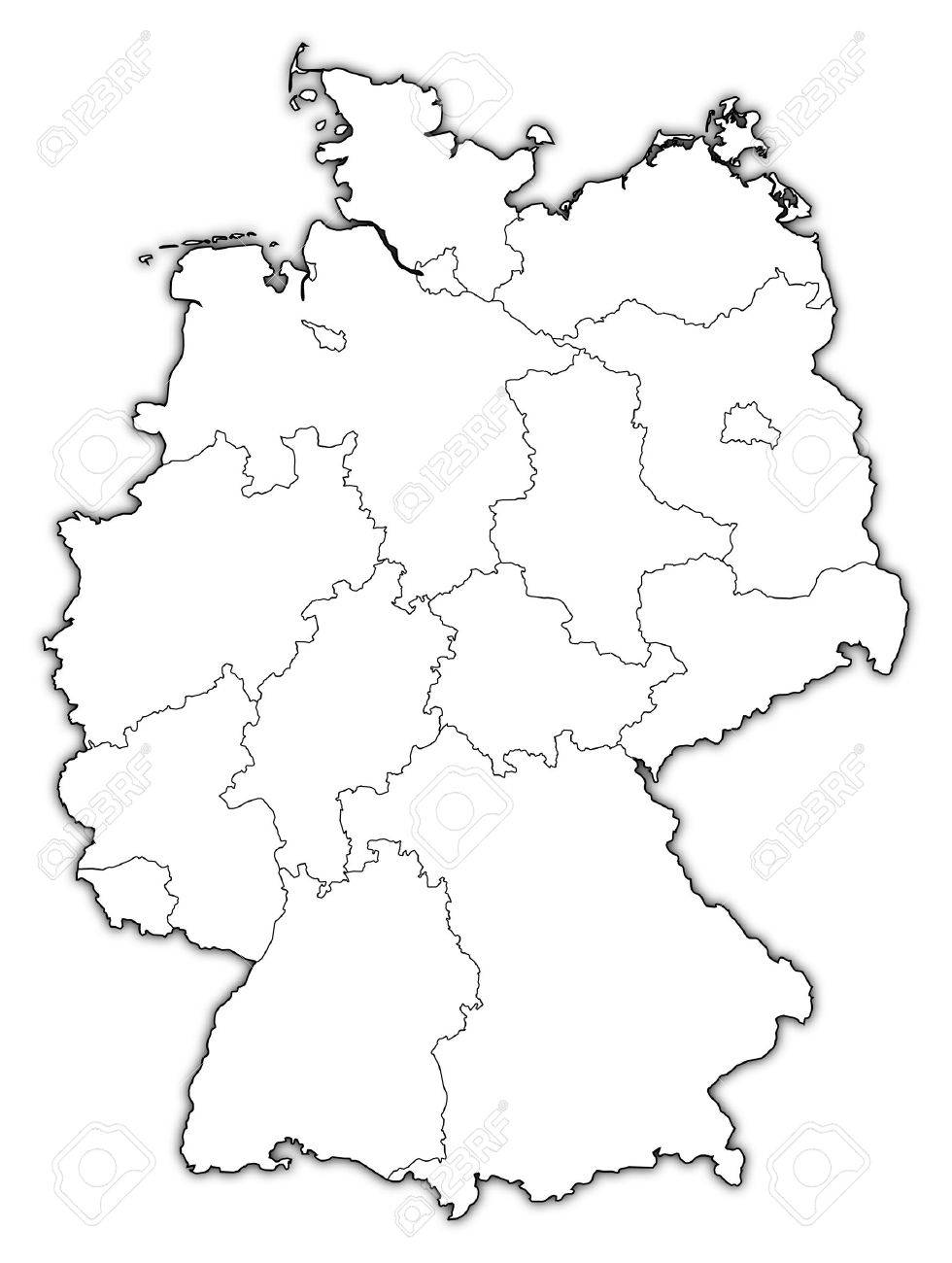 Political Map Of Germany With The Several States Royalty Free - Germany map drawing