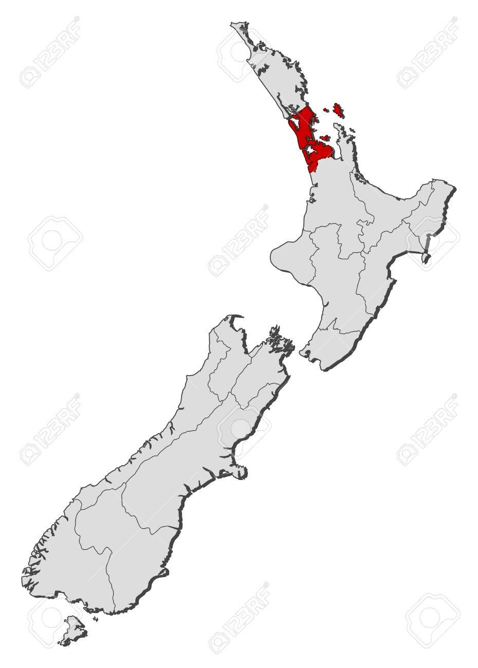 Political Map Of New Zealand.Political Map Of New Zealand With The Several Regions Where Auckland