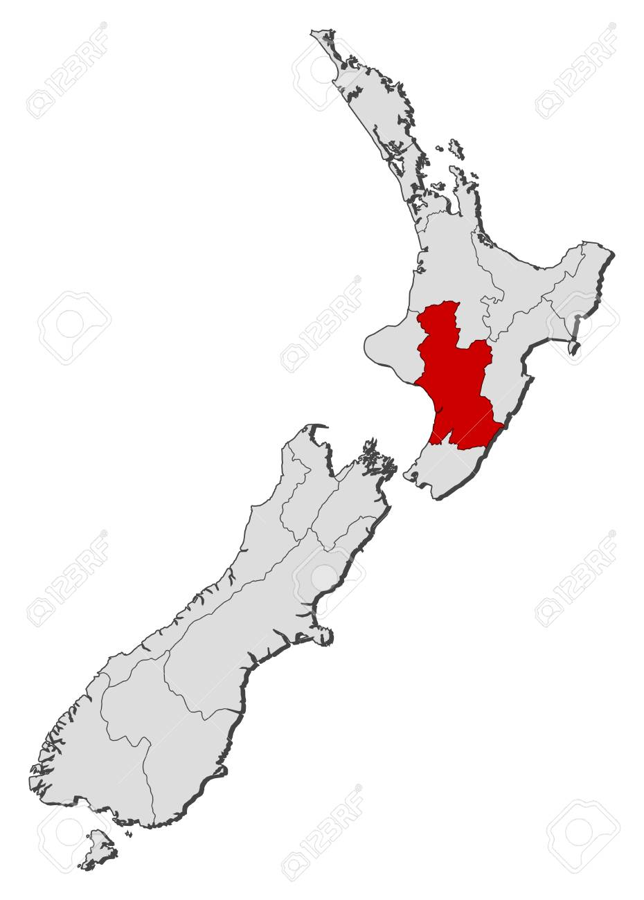 Political Map Of New Zealand.Political Map Of New Zealand With The Several Regions Where Hawke S