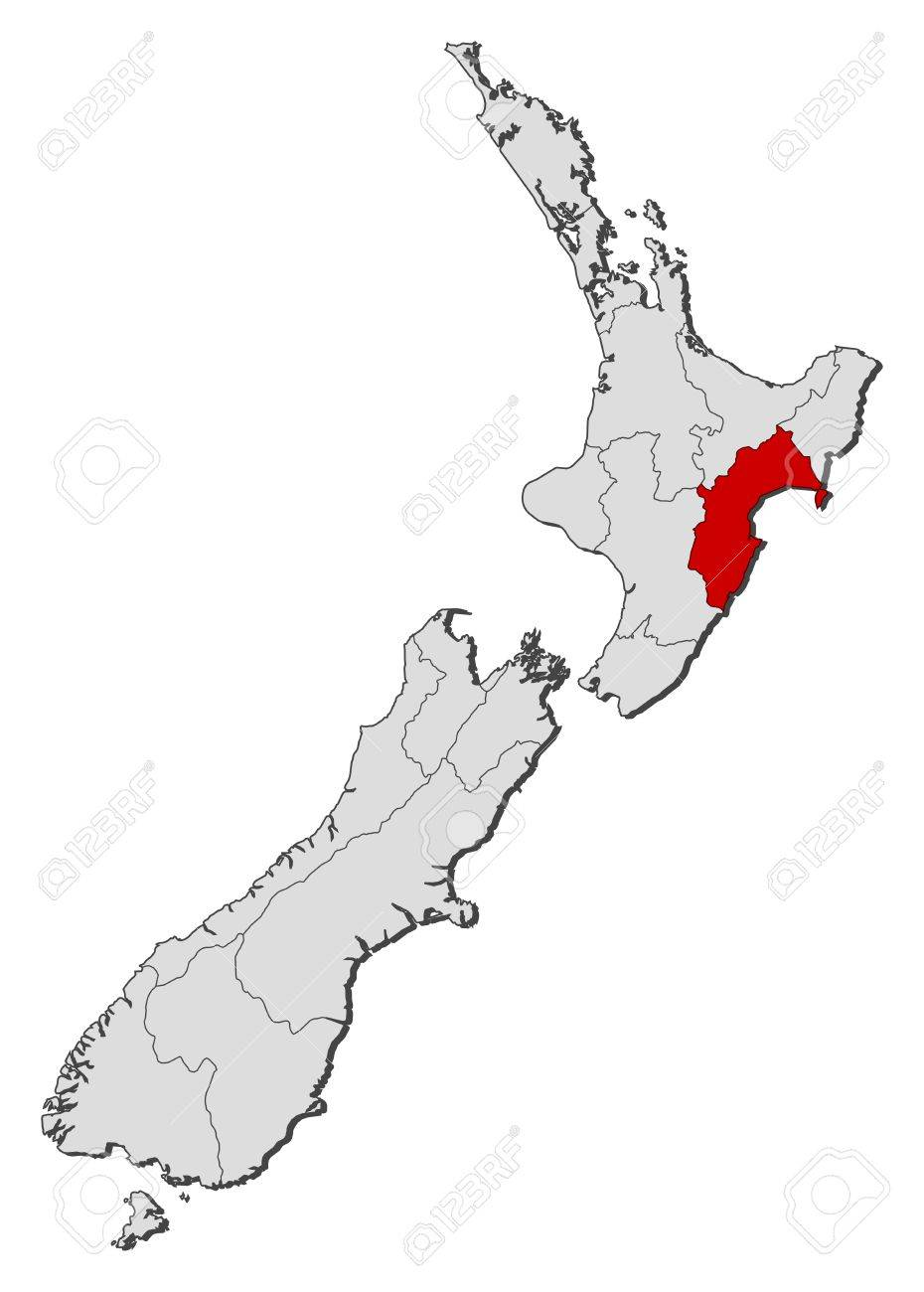 Political Map Of New Zealand.Political Map Of New Zealand With The Several Regions Where Taranaki