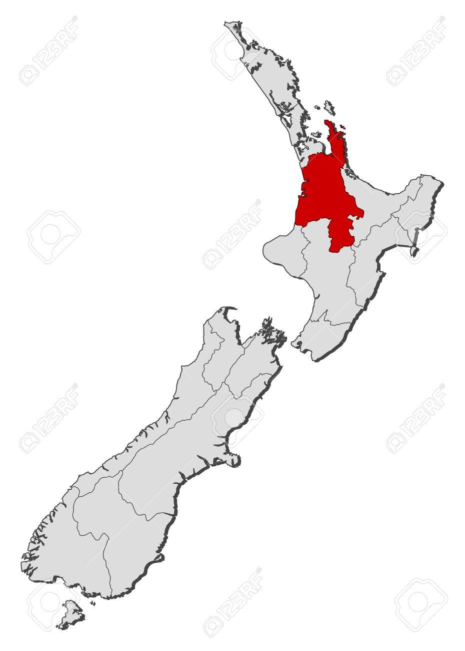 Waikato New Zealand Map.Political Map Of New Zealand With The Several Regions Where Waikato