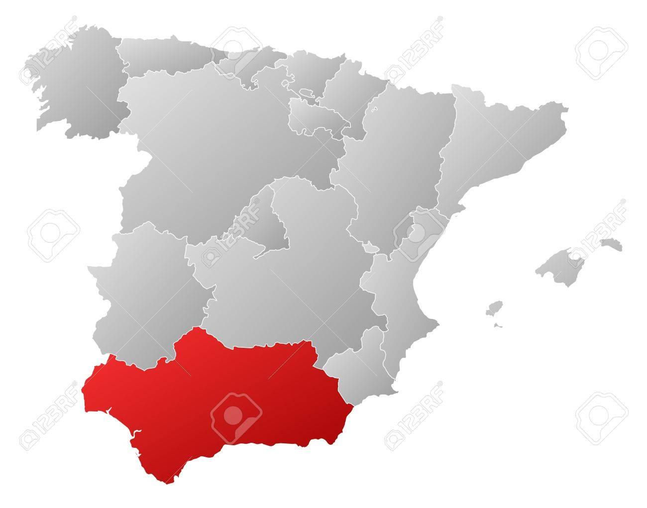 Cartina Muta Spagna Con Regioni.Vettoriale Mappa Politica Della Spagna Con Le Varie Regioni In Cui E Evidenziato Andalusia Image 11566030