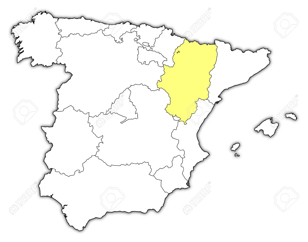 Political Map Of Spain With The Several Regions Where Aragon