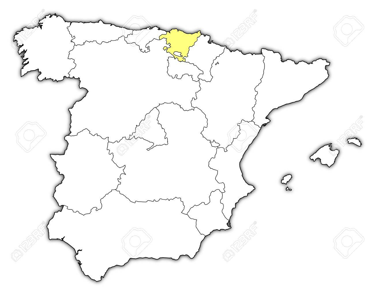 Political Map Of Spain With The Several Regions Where Basque