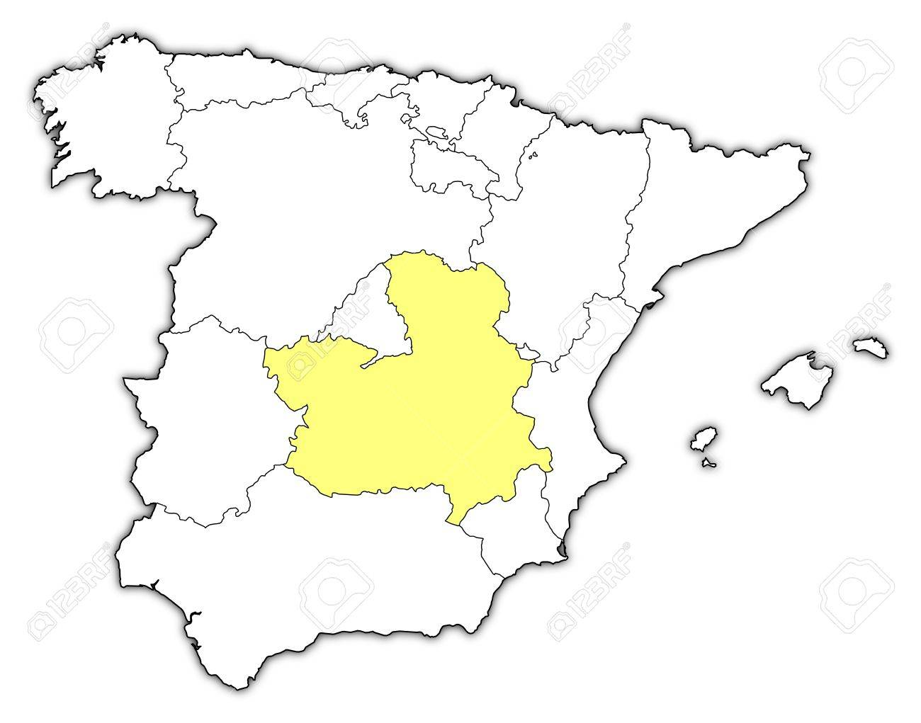 La Mancha Spain Map.Political Map Of Spain With The Several Regions Where Castile La