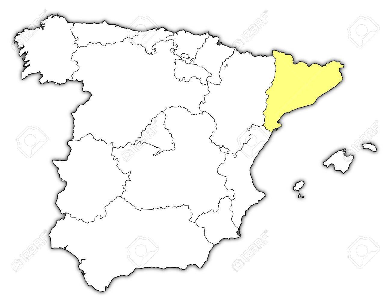 Cartina Muta Spagna Con Regioni.Vettoriale Mappa Politica Della Spagna Con Le Varie Regioni In Cui E Evidenziato Catalogna Image 11566167