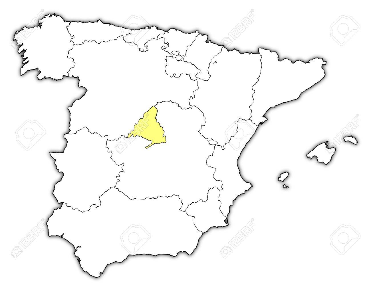 Map Of Spain With Madrid.Political Map Of Spain With The Several Regions Where Madrid
