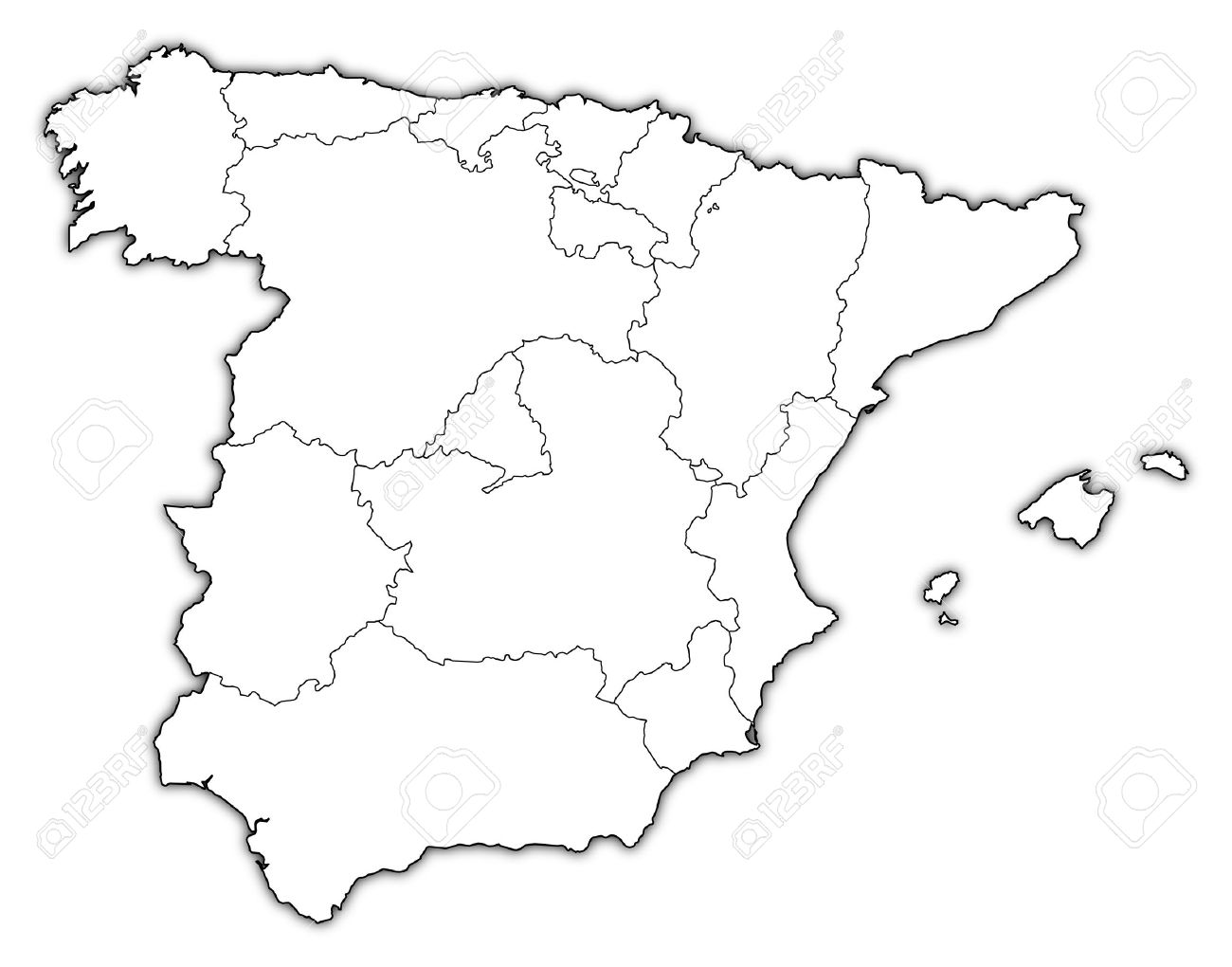 Political map of Spain with the several regions. - 11566158