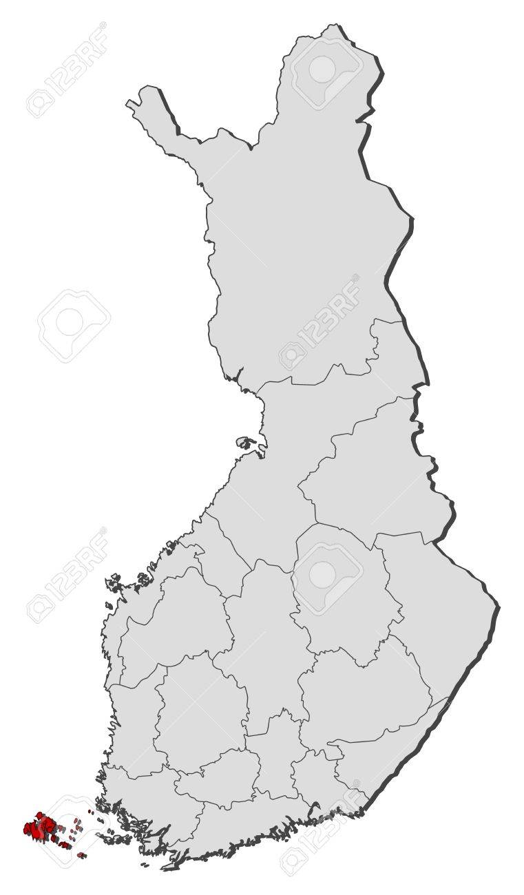 Finnland Karte Regionen.Stock Photo
