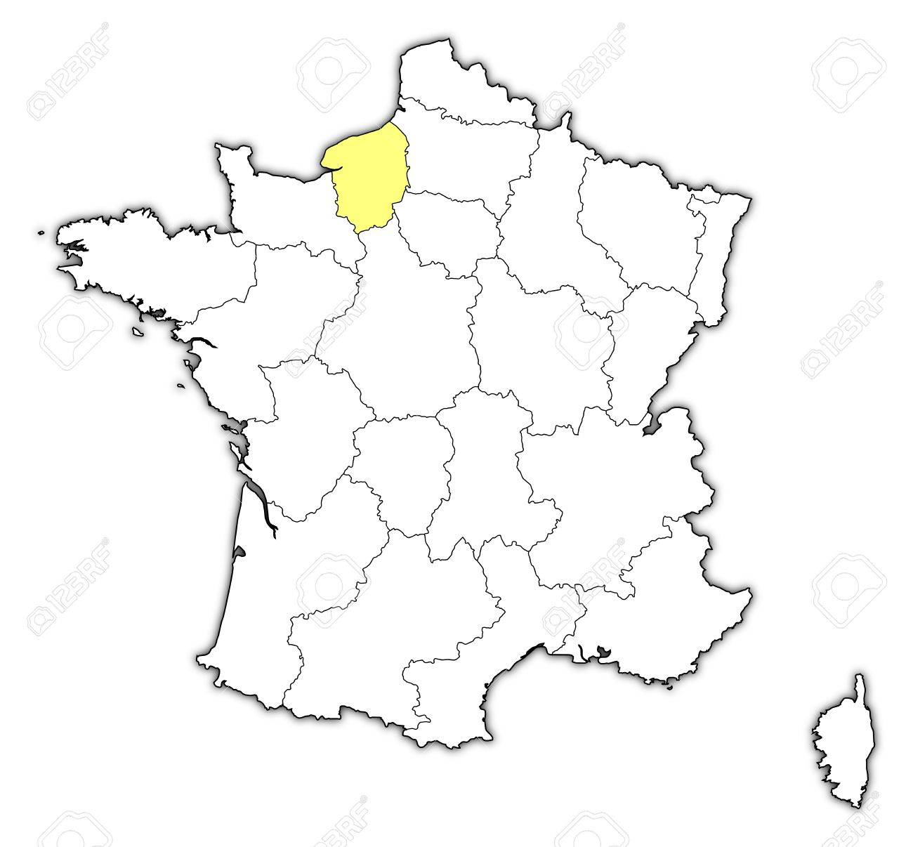 Cartina Della Francia In Bianco E Nero.Mappa Politica Della Francia Con Le Varie Regioni In Cui E Evidenziato Alta Normandia