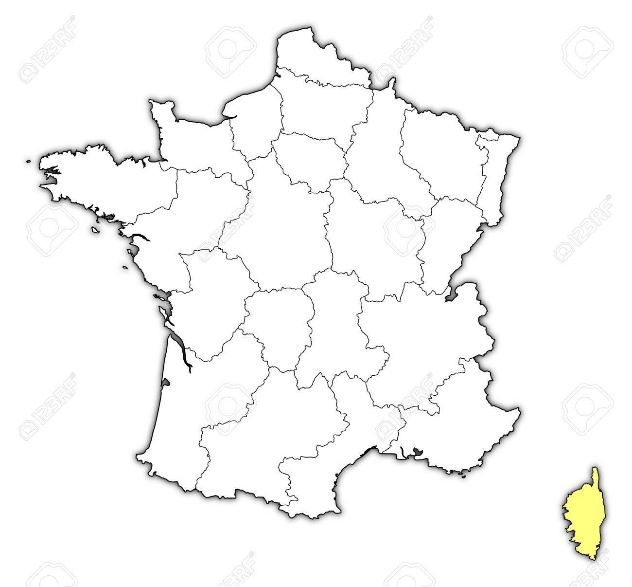 Francia Politica Cartina.Mappa Politica Della Francia Con Le Varie Regioni In Cui E Evidenziata La Corsica