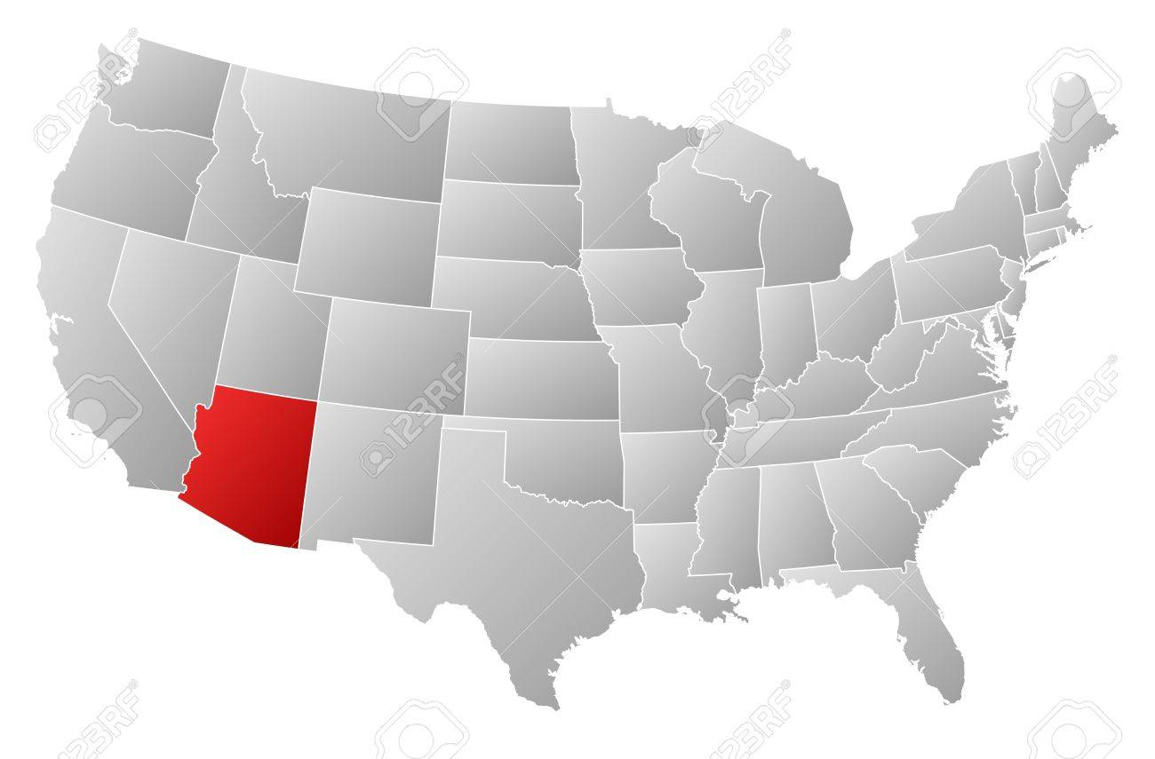 Political Map Of United States With The Several States Where - Arizona map of usa