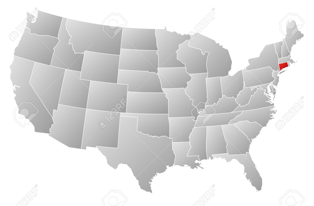 Political Map Of United States With The Several States Where - Connecticut on a us map