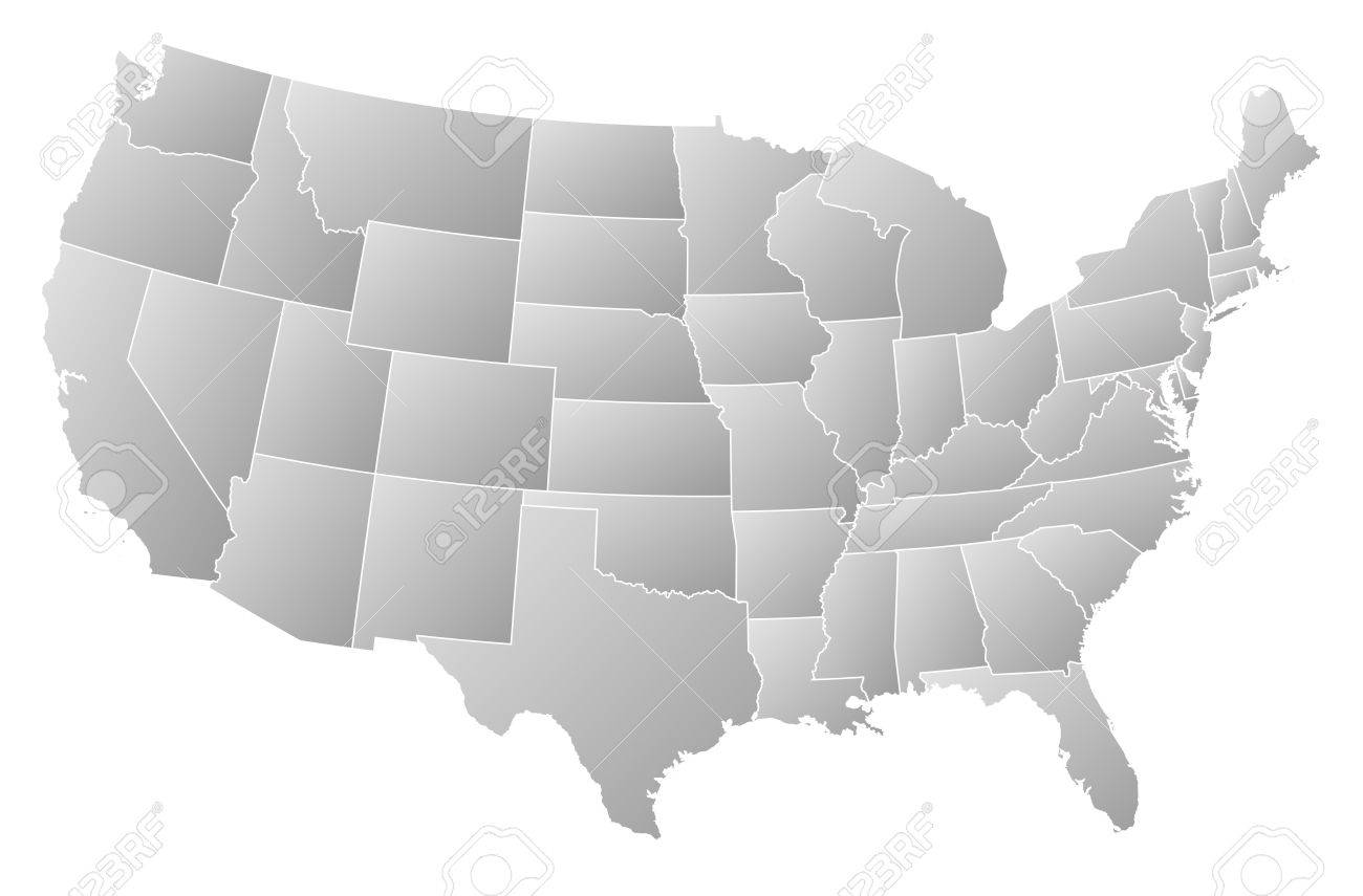 Political map of United States with the several states where Washington, D.C. is highlighted. Stock Vector - 13912448