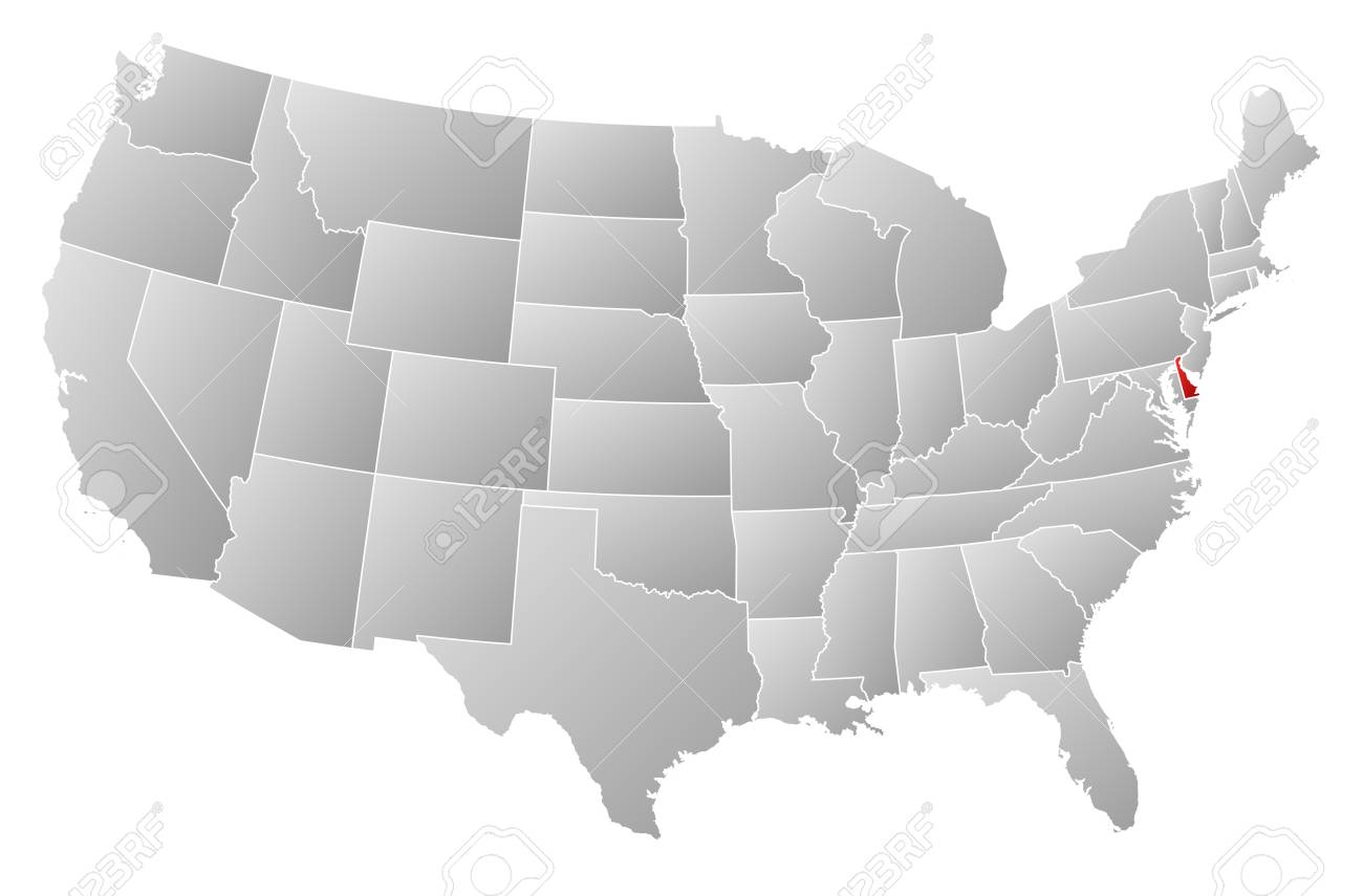 Political map of United States with the several states where Delaware is highlighted. Stock Vector - 13912449