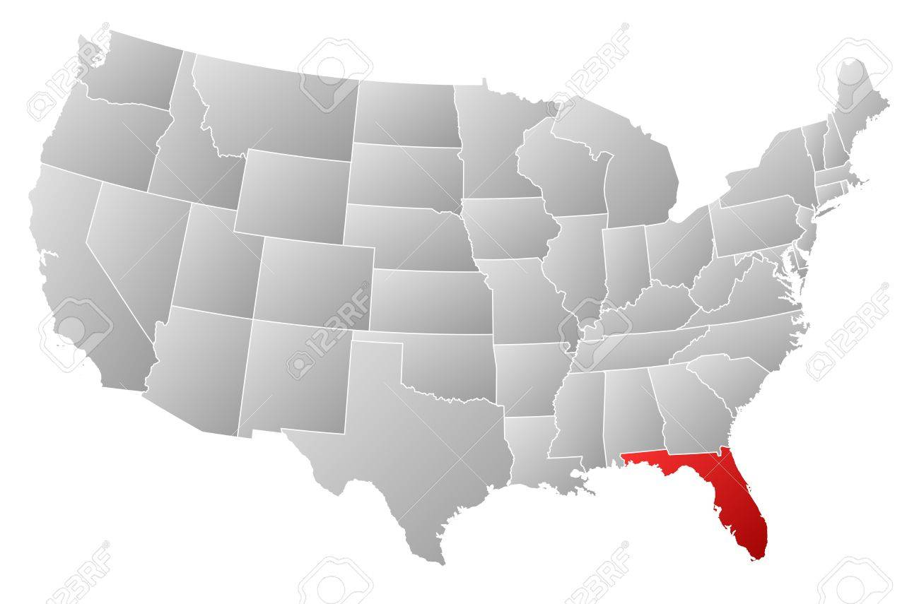 political map of united states with the several states where florida is highlighted stock vector