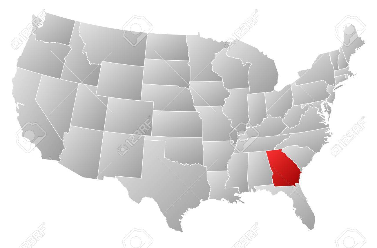 Political Map Of United States With The Several States Where - Us map ga