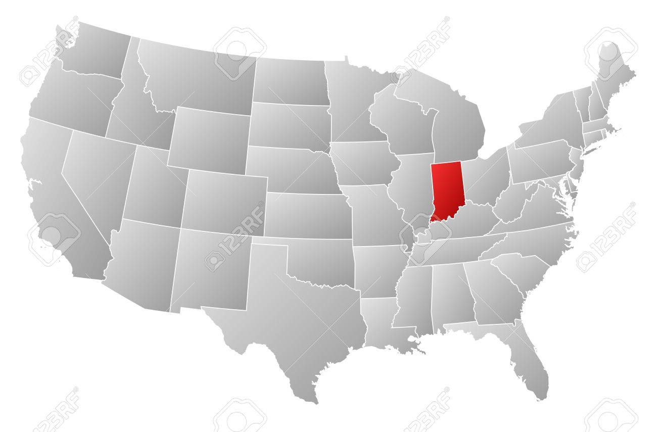 Political Map Of United States With The Several States Where Indiana Is Highlighted Stock Vector