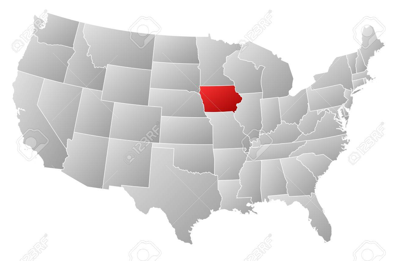 Political Map Of United States With The Several States Where - Iowa on a us map
