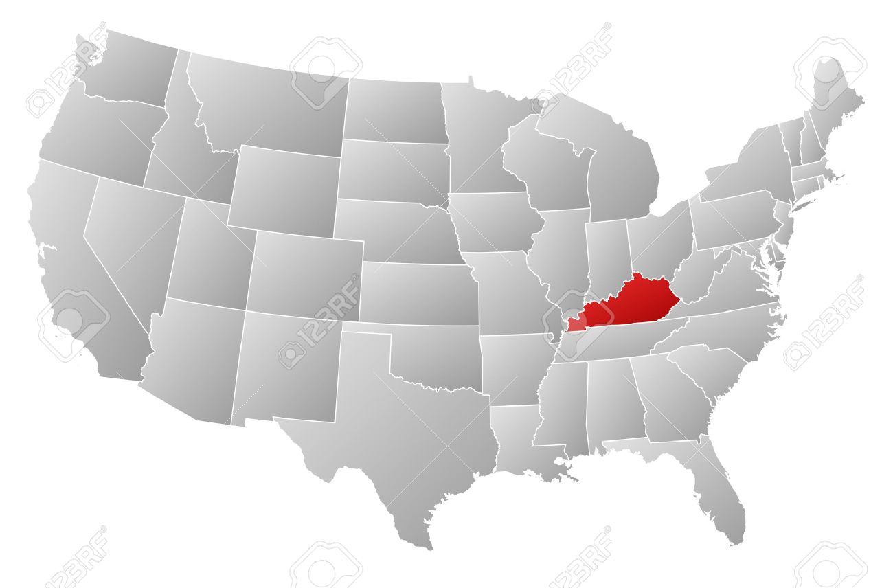 Political map of United States with the several states where Kentucky is highlighted. - 13912502
