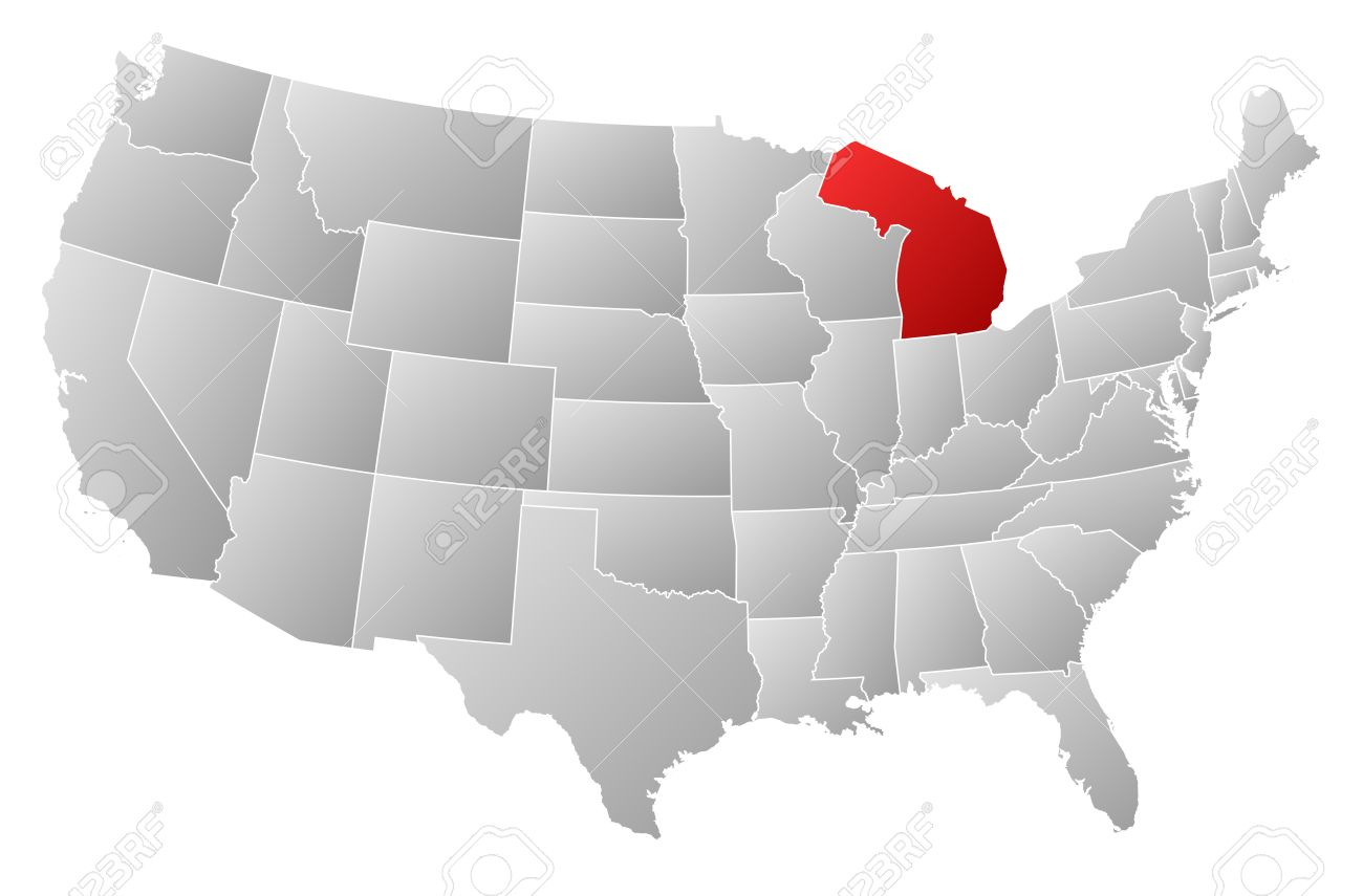political map of united states with the several states where michigan is highlighted stock vector