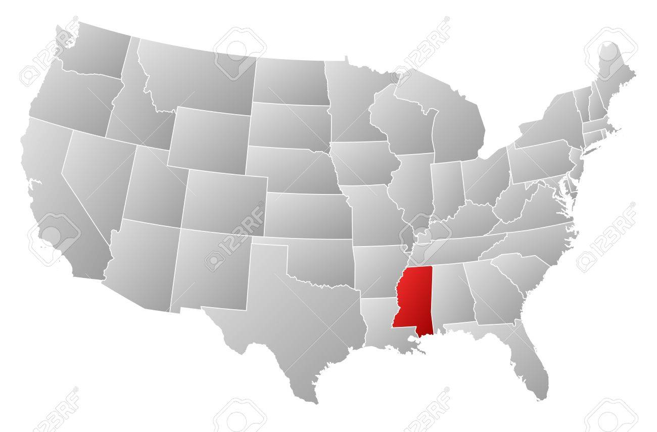 Political Map Of United States With The Several States Where - Us map mississippi