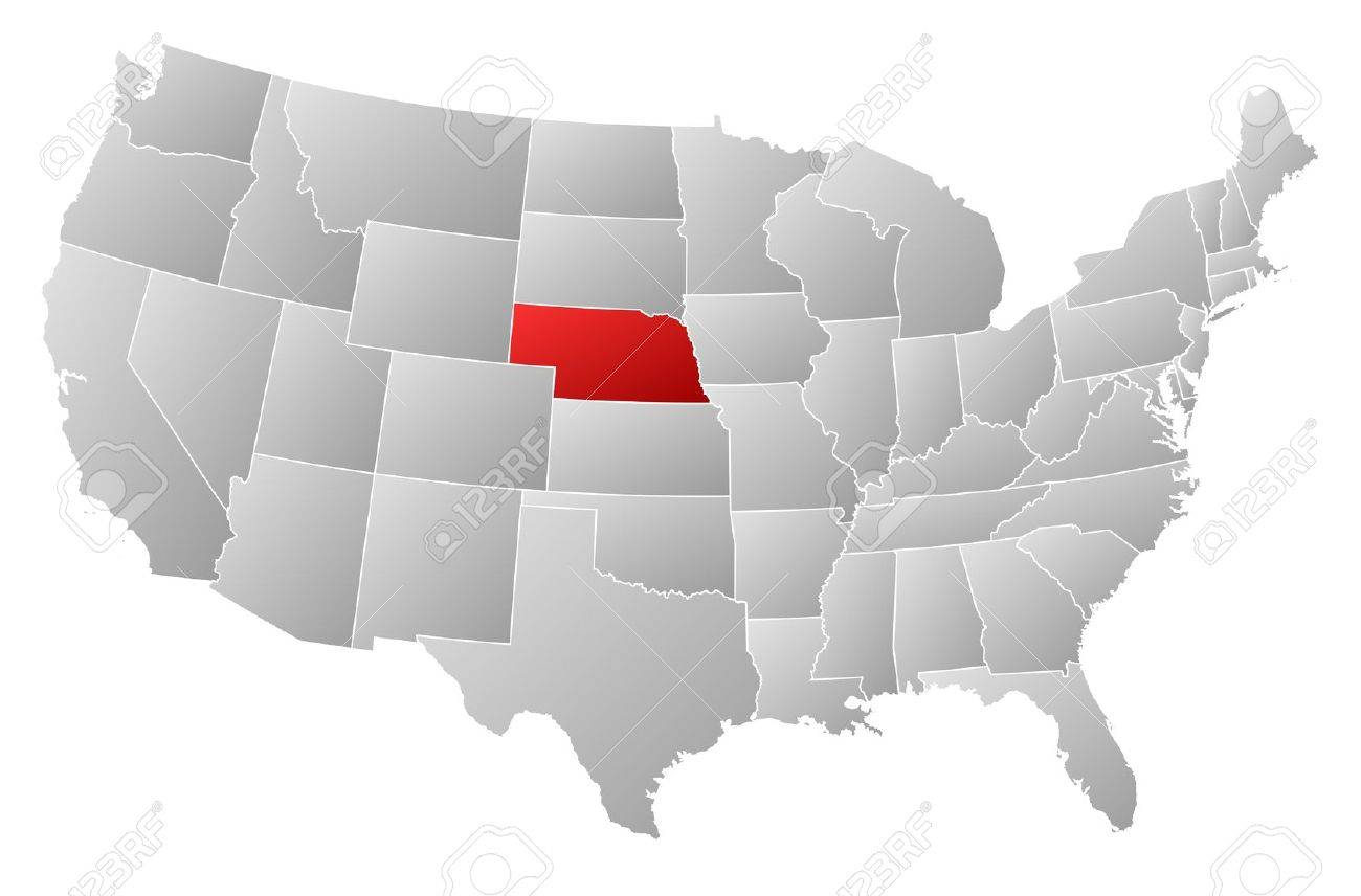 Political Map Of United States With The Several States Where - Nebraska on a us map