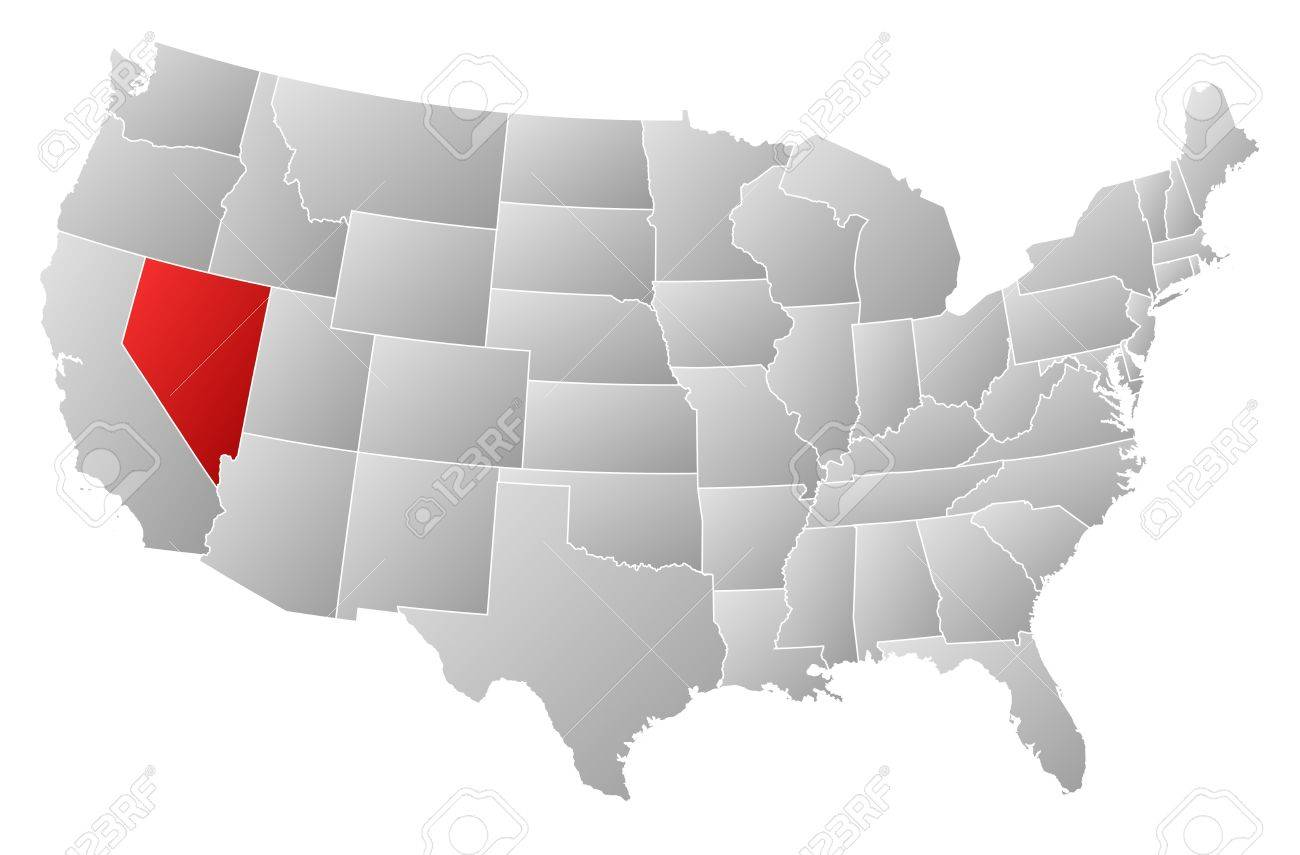 Political Map Of United States With The Several States Where - Nevada on us map
