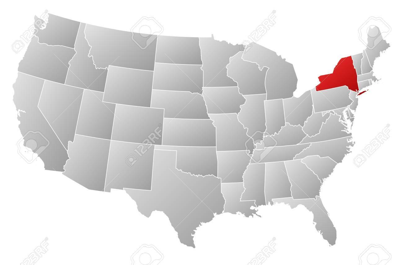 Cartina Degli Stati Uniti Politica.Vettoriale Mappa Politica Degli Stati Uniti Con I Diversi Stati In Cui E Evidenziato New York Image 13912531