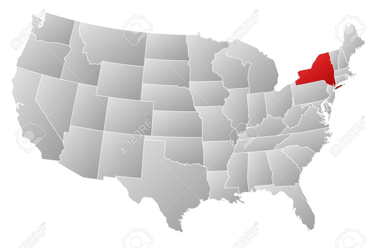 Cartina America New York.Political Map Of United States With The Several States Where Royalty Free Cliparts Vectors And Stock Illustration Image 13912531