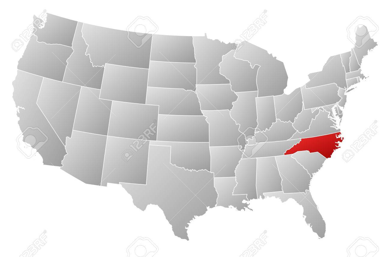 Political Map Of United States With The Several States Where - North carolina on a us map