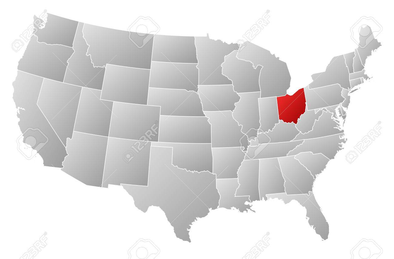 Political Map Of United States With The Several States Where - Us map of ohio