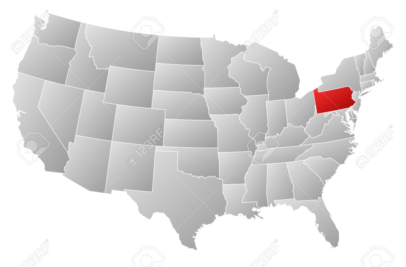 Political Map Of United States With The Several States Where - Us map pennsylvania
