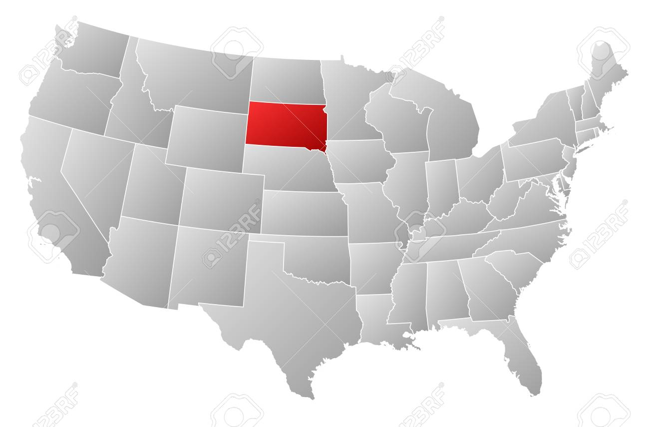 Political map of United States with the several states where South Dakota is highlighted Stock Vector - 13912488