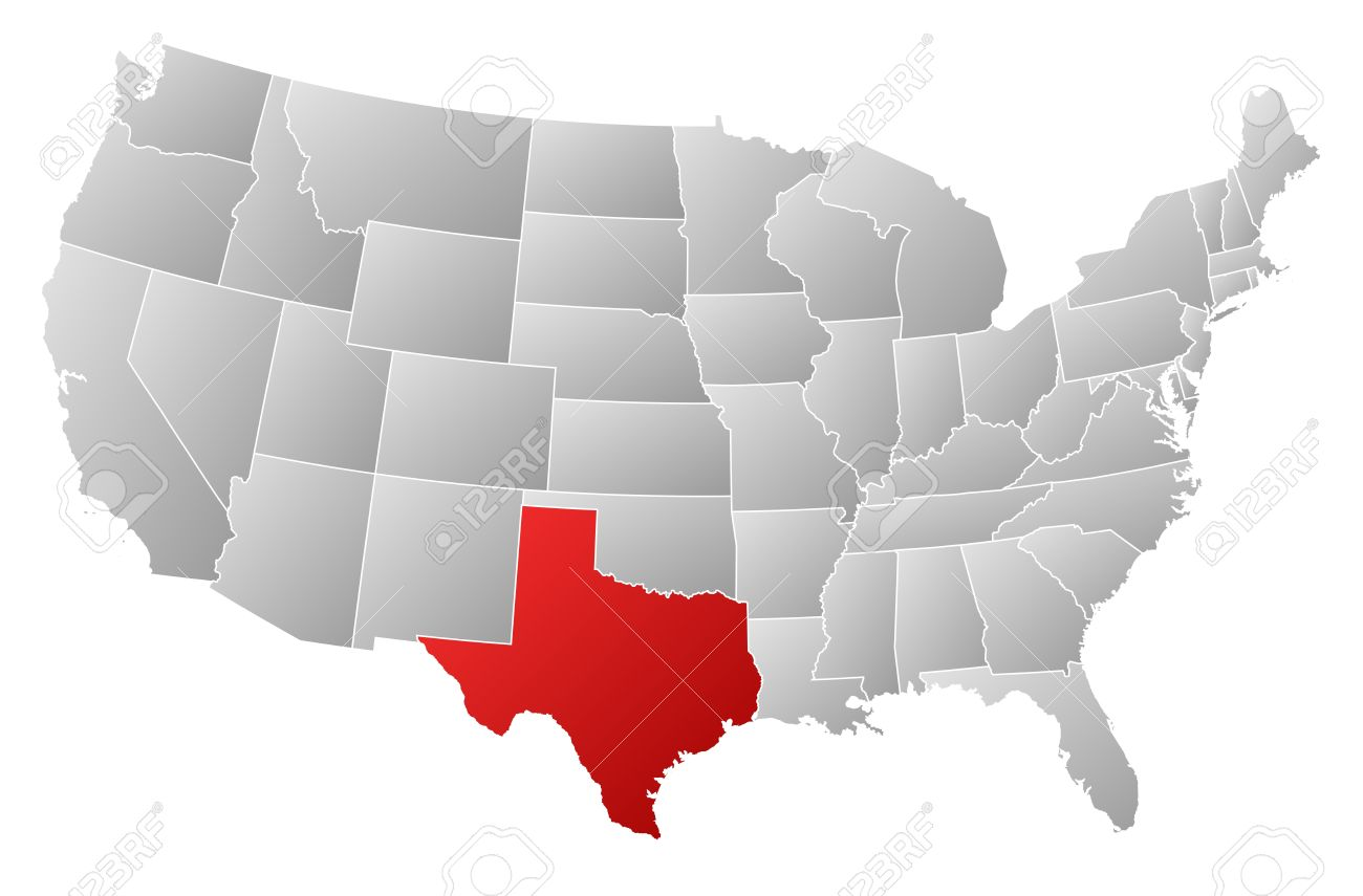 Political Map Of United States With The Several States Where - Texas map of usa