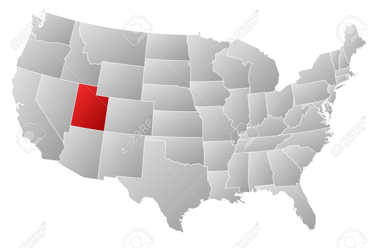 Political Map Of United States With The Several States Where - Us map utah